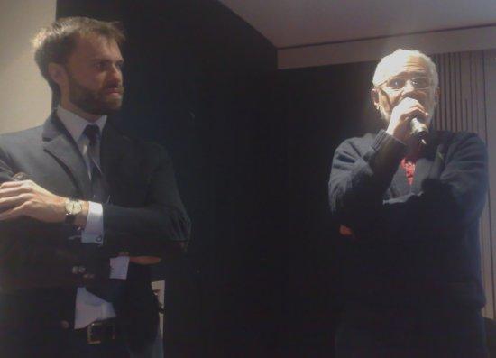 Mario Macchitella del Teatro della Luna con Saverio Marconi alla presentazione della stagione 2011/2012 del Teatro della Luna