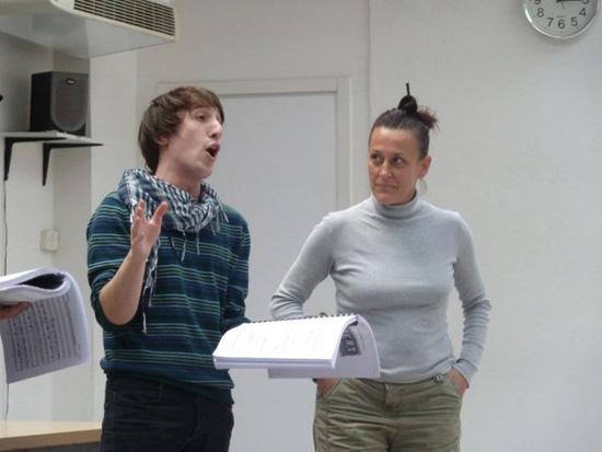 Francesca Taverni in prova con uno degli allievi