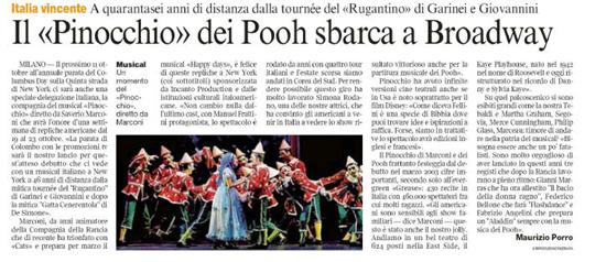 """L'articolo sul """"Corriere della Sera"""""""