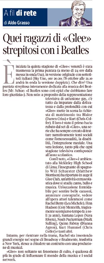 """Aldo Grasso sul """"Corriere della Sera"""""""
